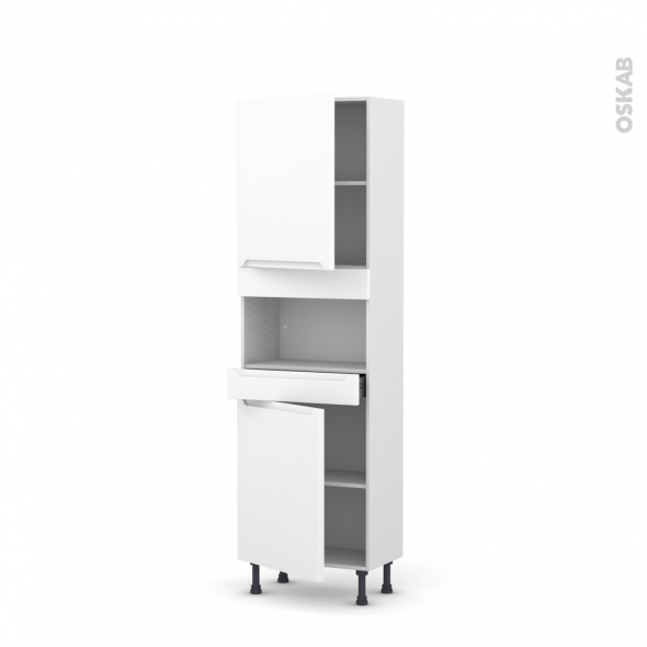 PIMA Blanc - Colonne MO niche 36/38 N°2121  - Prof.37  2 portes 1 tiroir - L60xH195xP37