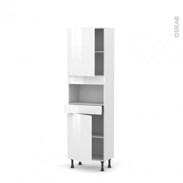 STECIA Blanc - Colonne MO niche 36/38 N°2121  - Prof.37  2 portes 1 tiroir - L60xH195xP37
