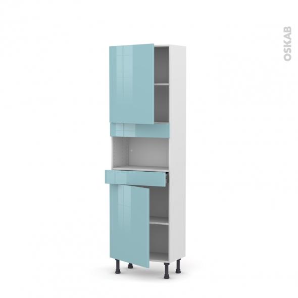 Colonne de cuisine N°2121 - MO encastrable niche 36/38 - KERIA Bleu - 2 portes 1 tiroir - L60 x H195 x P37 cm