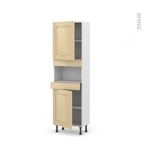 BASILIT Bois Vernis - Colonne MO niche 36/38 N°2121  - Prof.37  2 portes 1 tiroir - L60xH195xP37