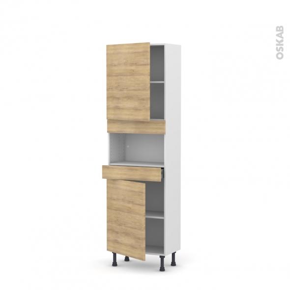 Colonne de cuisine N°2121 - MO encastrable niche 36/38 - HOSTA Chêne naturel - 2 portes 1 tiroir - L60 x H195 x P37 cm