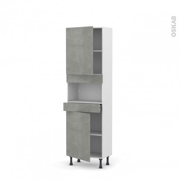 Colonne de cuisine N°2121 - MO encastrable niche 36/38 - FAKTO Béton - 2 portes 1 tiroir - L60 x H195 x P37 cm