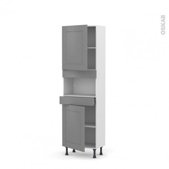 Colonne de cuisine N°2121 - MO encastrable niche 36/38 - FILIPEN Gris - 2 portes 1 tiroir - L60 x H195 x P37 cm