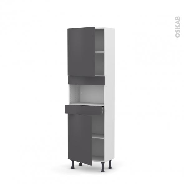 Colonne de cuisine N°2121 - MO encastrable niche 36/38 - GINKO Gris - 2 portes 1 tiroir - L60 x H195 x P37 cm