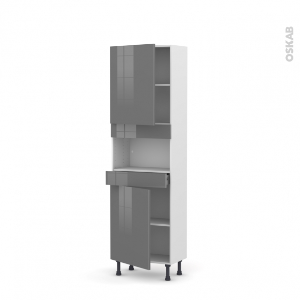 STECIA Gris - Colonne MO niche 36/38 N°2121  - Prof.37  2 portes 1 tiroir - L60xH195xP37