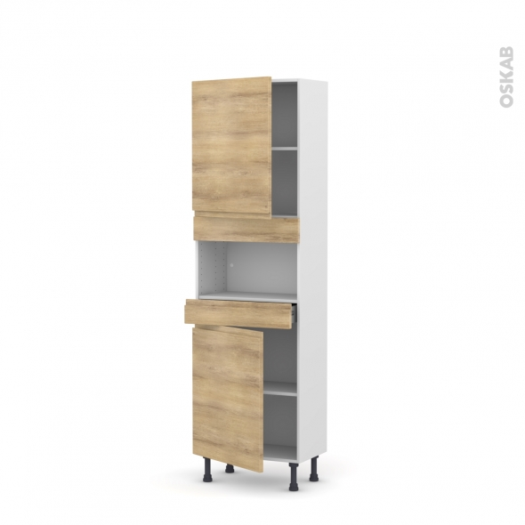 Colonne de cuisine N°2121 - MO encastrable niche 36/38 - IPOMA Chêne naturel - 2 portes 1 tiroir - L60 x H195 x P37 cm