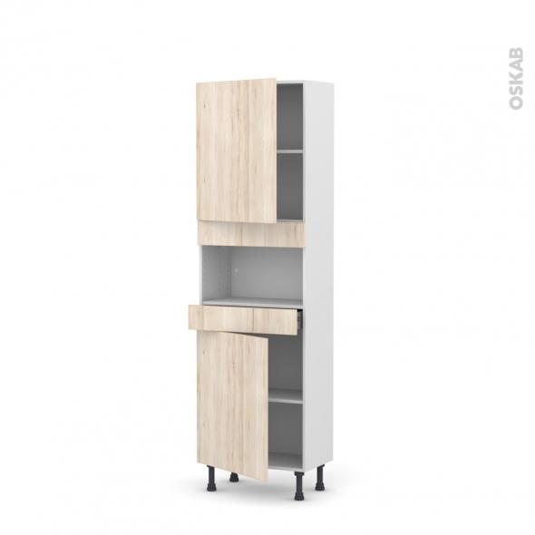 Colonne de cuisine N°2121 - MO encastrable niche 36/38 - IKORO Chêne clair - 2 portes 1 tiroir - L60 x H195 x P37 cm