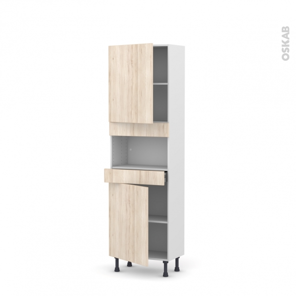 IKORO Chêne clair - Colonne MO niche 36/38 N°2121  - Prof.37  2 portes 1 tiroir - L60xH195xP37