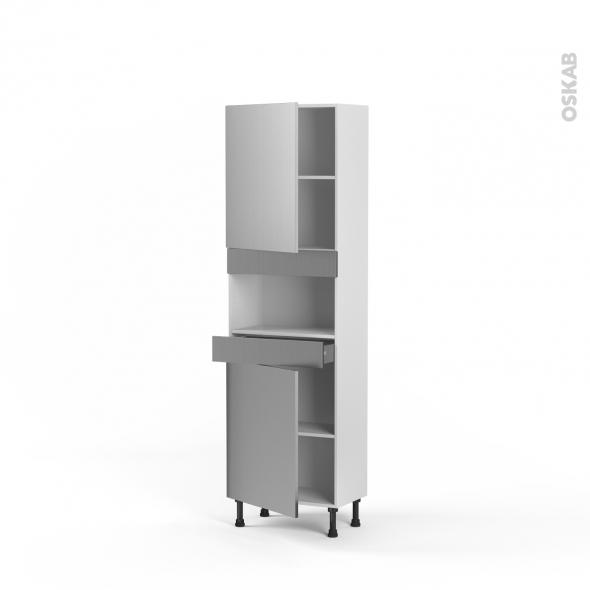 STILO Inox - Colonne MO niche 36/38 N°2121  - Prof.37  2 portes 1 tiroir - L60xH195xP37