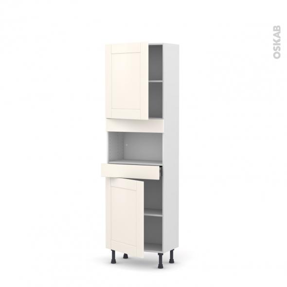 Colonne de cuisine N°2121 - MO encastrable niche 36/38 - FILIPEN Ivoire - 2 portes 1 tiroir - L60 x H195 x P37 cm