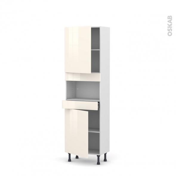 Colonne de cuisine N°2121 - MO encastrable niche 36/38 - KERIA Ivoire - 2 portes 1 tiroir - L60 x H195 x P37 cm