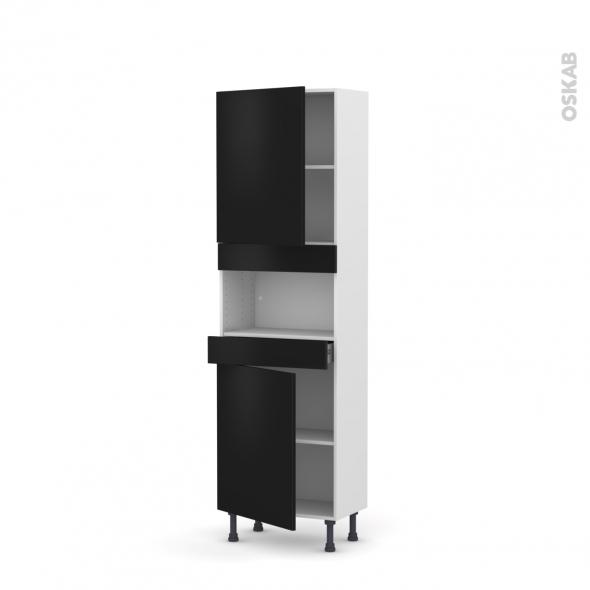 Colonne de cuisine N°2121 - MO encastrable niche 36/38 - GINKO Noir - 2 portes 1 tiroir - L60 x H195 x P37 cm