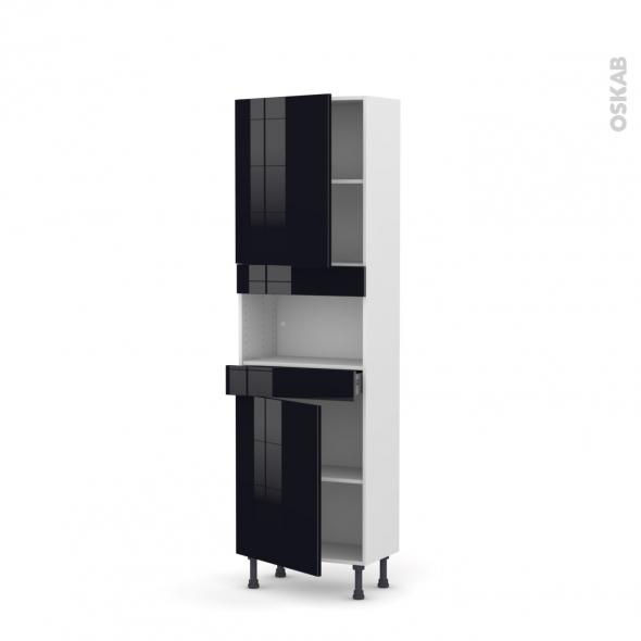 Colonne de cuisine N°2121 - MO encastrable niche 36/38 - KERIA Noir - 2 portes 1 tiroir - L60 x H195 x P37 cm