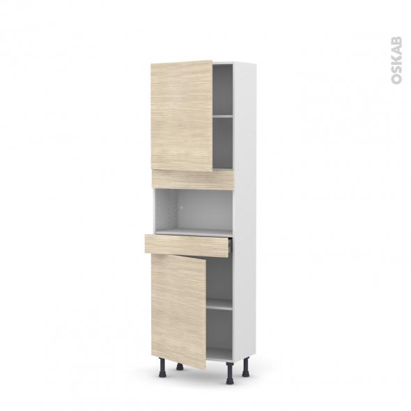 Colonne de cuisine N°2121 - MO encastrable niche 36/38 - STILO Noyer Blanchi - 2 portes 1 tiroir - L60 x H195 x P37 cm