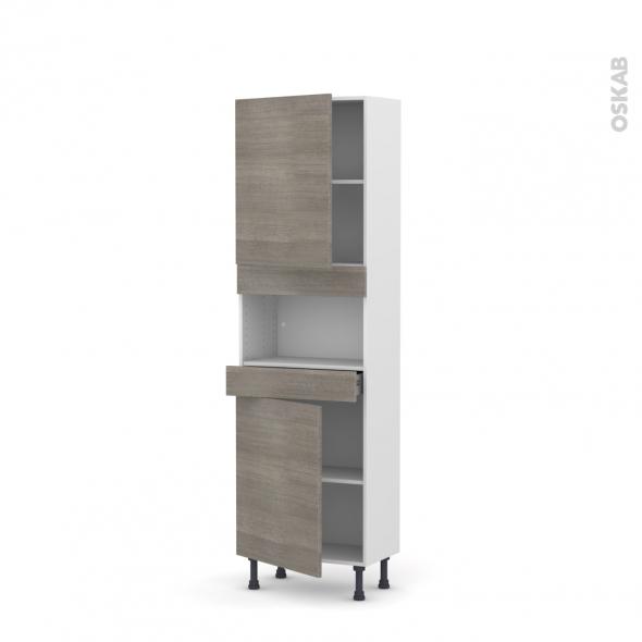 Colonne de cuisine N°2121 - MO encastrable niche 36/38 - STILO Noyer Naturel - 2 portes 1 tiroir - L60 x H195 x P37 cm