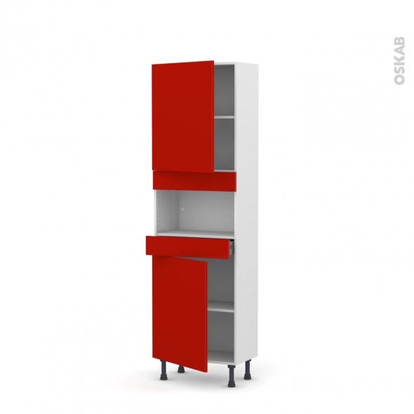 GINKO Rouge - Colonne MO niche 36/38 N°2121  - Prof.37  2 portes 1 tiroir - L60xH195xP37