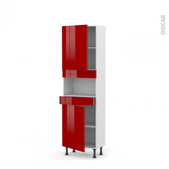 Colonne de cuisine N°2121 - MO encastrable niche 36/38 - STECIA Rouge - 2 portes 1 tiroir - L60 x H195 x P37 cm