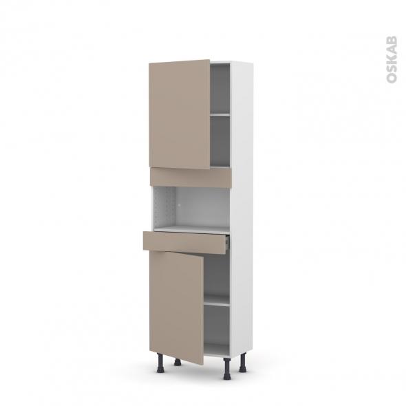 Colonne de cuisine N°2121 - MO encastrable niche 36/38 - GINKO Taupe - 2 portes 1 tiroir - L60 x H195 x P37 cm