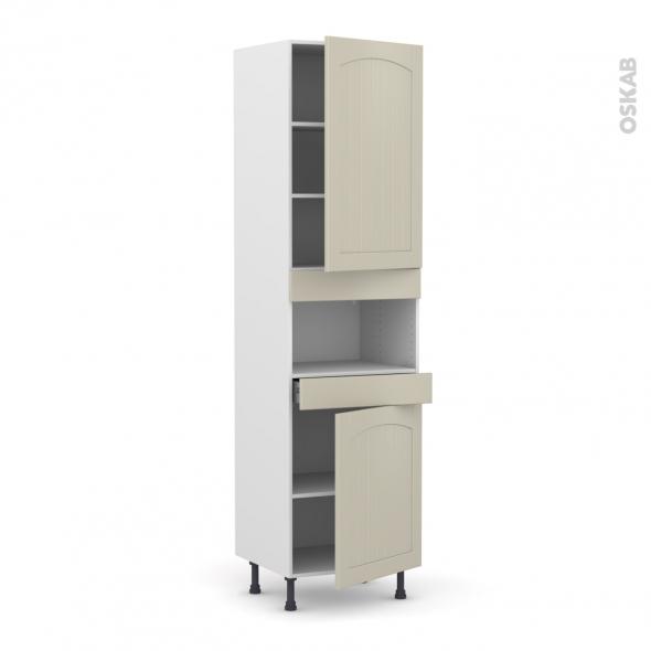 SILEN Argile - Colonne MO niche 36/38 N°2421  - 2 portes 1 tiroir - L60xH217xP58 - droite
