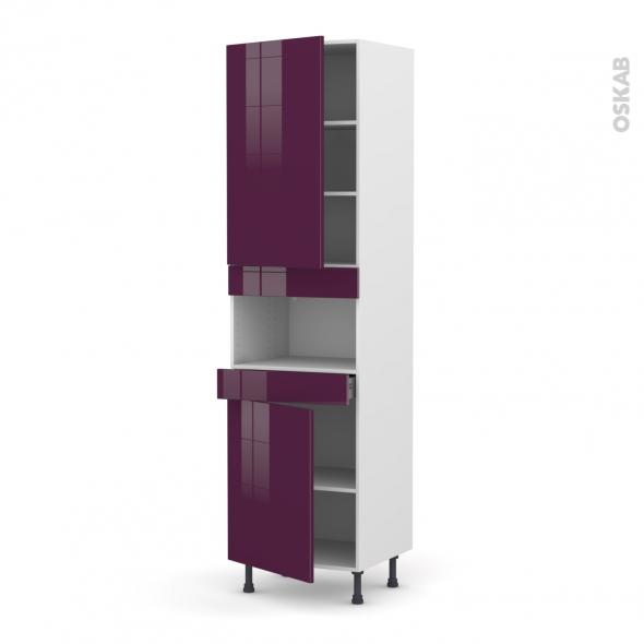 Colonne de cuisine N°2421 - MO encastrable niche 36/38 - KERIA Aubergine - 2 portes 1 tiroir - L60 x H217 x P58 cm