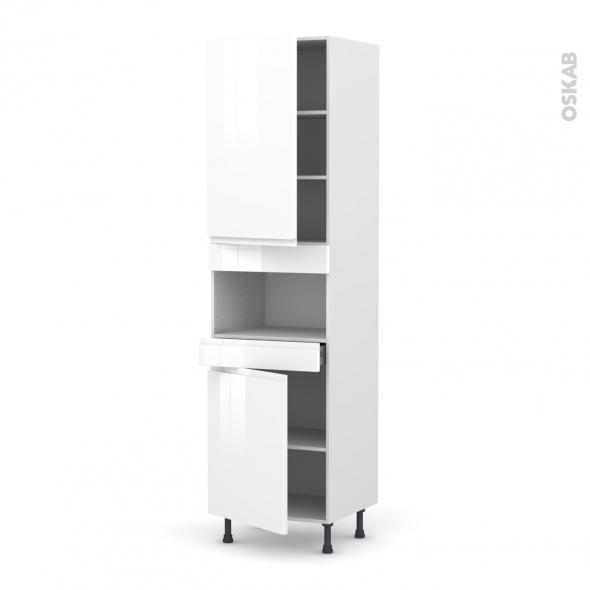 Colonne de cuisine N°2421 - MO encastrable niche 36/38 - IPOMA Blanc - 2 portes 1 tiroir - L60 x H217 x P58 cm