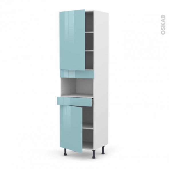 Colonne de cuisine N°2421 - MO encastrable niche 36/38 - KERIA Bleu - 2 portes 1 tiroir - L60 x H217 x P58 cm