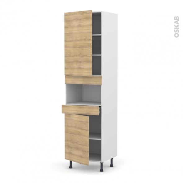 Colonne de cuisine N°2421 - MO encastrable niche 36/38 - HOSTA Chêne naturel - 2 portes 1 tiroir - L60 x H217 x P58 cm