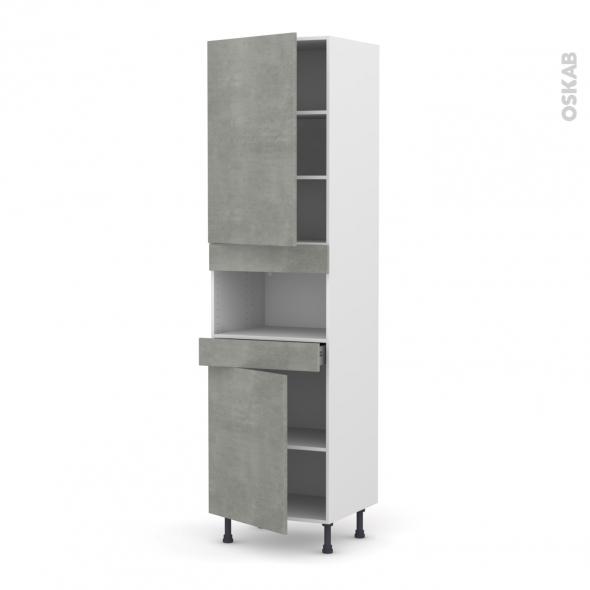 FAKTO Béton - Colonne MO niche 36/38 N°2421  - 2 portes 1 tiroir - L60xH217xP58