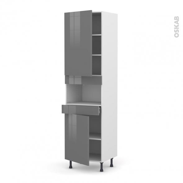 Colonne de cuisine N°2421 - MO encastrable niche 36/38 - STECIA Gris - 2 portes 1 tiroir - L60 x H217 x P58 cm
