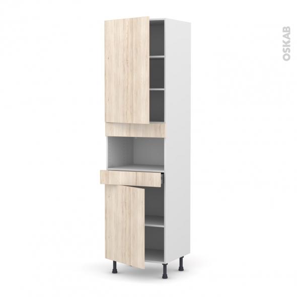 IKORO Chêne clair - Colonne MO niche 36/38 N°2421  - 2 portes 1 tiroir - L60xH217xP58