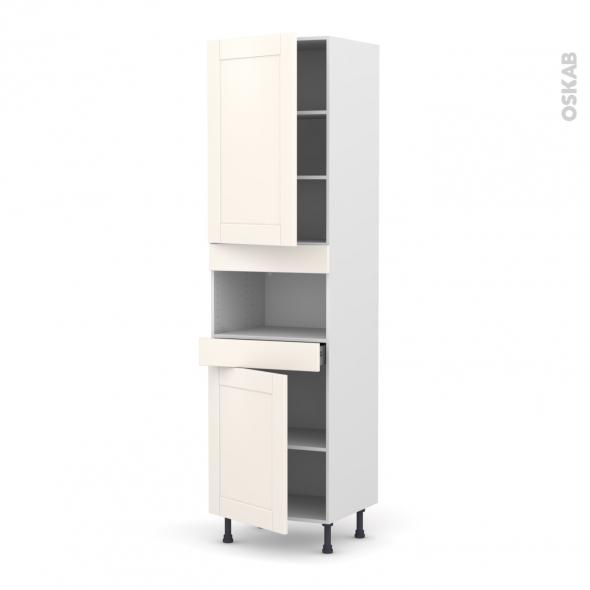 Colonne de cuisine N°2421 - MO encastrable niche 36/38 - FILIPEN Ivoire - 2 portes 1 tiroir - L60 x H217 x P58 cm