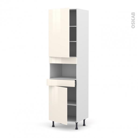 Colonne de cuisine N°2421 - MO encastrable niche 36/38 - KERIA Ivoire - 2 portes 1 tiroir - L60 x H217 x P58 cm