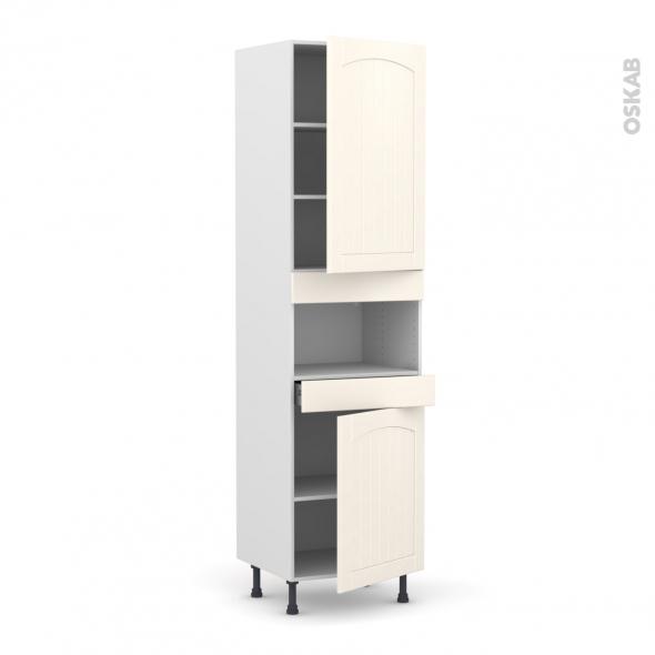 SILEN Ivoire - Colonne MO niche 36/38 N°2421  - 2 portes 1 tiroir - L60xH217xP58 - droite