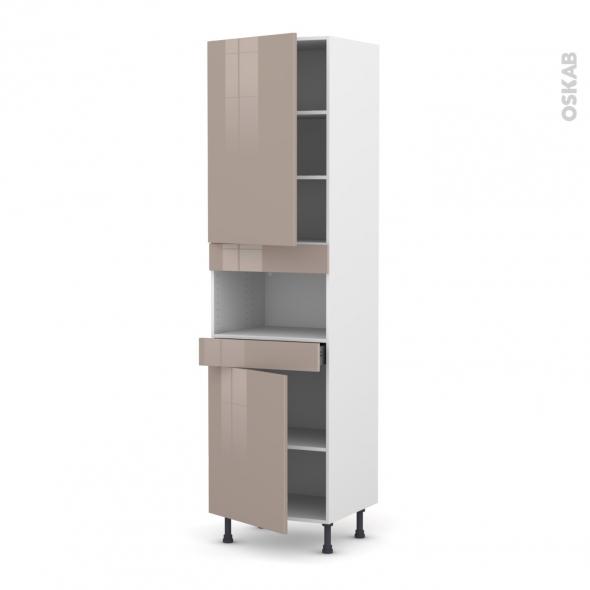 Colonne de cuisine N°2421 - MO encastrable niche 36/38 - KERIA Moka - 2 portes 1 tiroir - L60 x H217 x P58 cm