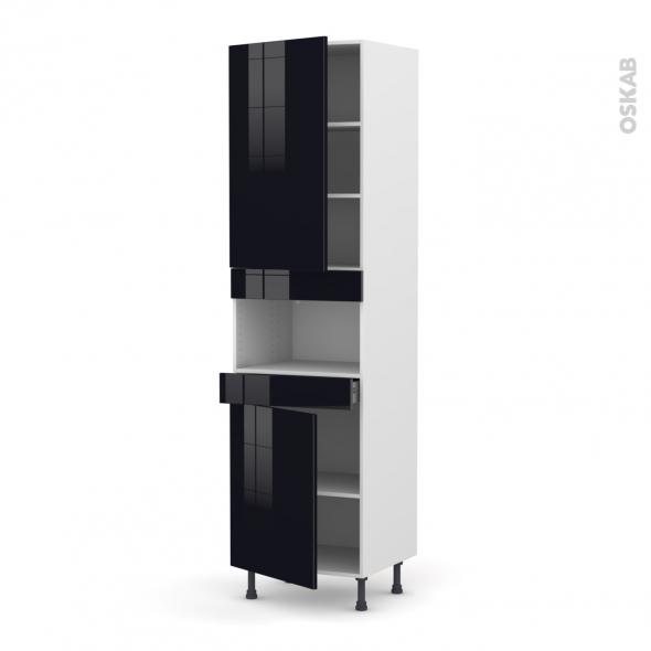 Colonne de cuisine N°2421 - MO encastrable niche 36/38 - KERIA Noir - 2 portes 1 tiroir - L60 x H217 x P58 cm