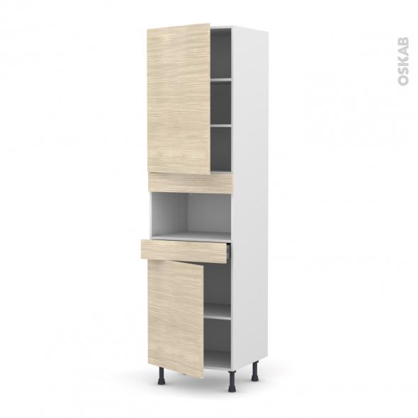 STILO Noyer Blanchi - Colonne MO niche 36/38 N°2421  - 2 portes 1 tiroir - L60xH217xP58