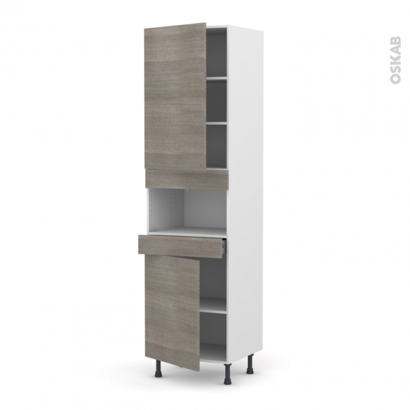 Colonne de cuisine N°2421 - MO encastrable niche 36/38 - STILO Noyer Naturel - 2 portes 1 tiroir - L60 x H217 x P58 cm