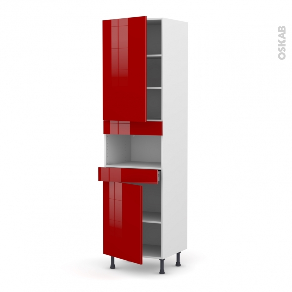 Colonne de cuisine N°2421 - MO encastrable niche 36/38 - STECIA Rouge - 2 portes 1 tiroir - L60 x H217 x P58 cm