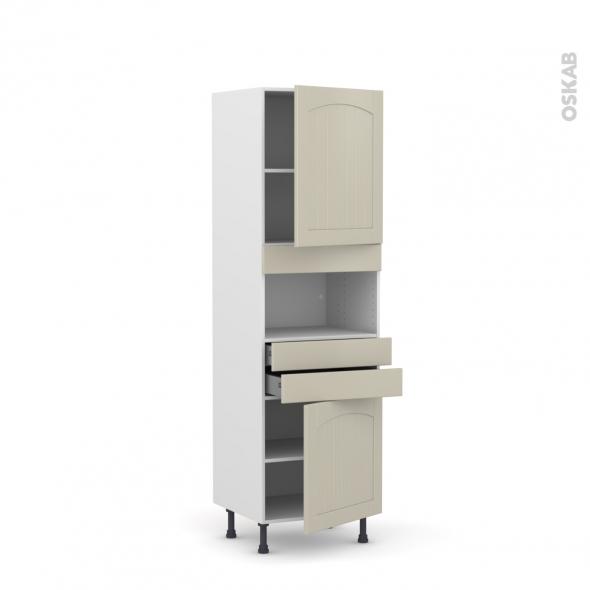 SILEN Argile - Colonne MO niche 36/38 N°2156  - 2 portes 2 tiroirs - L60xH195xP58 - droite