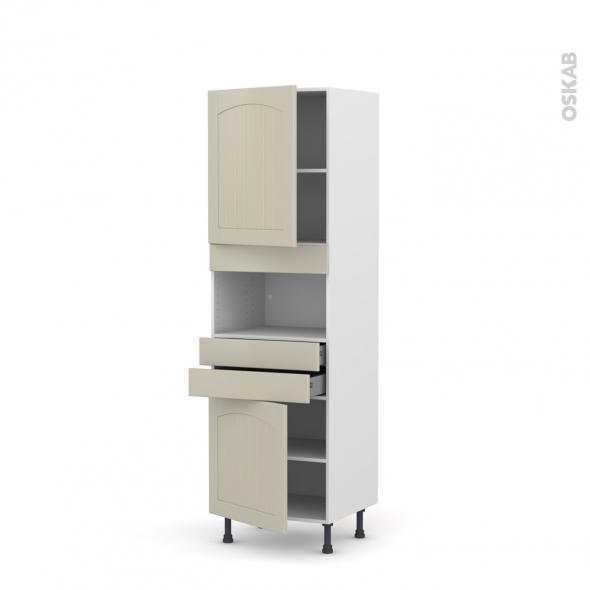 SILEN Argile - Colonne MO niche 36/38 N°2156  - 2 portes 2 tiroirs - L60xH195xP58 - gauche