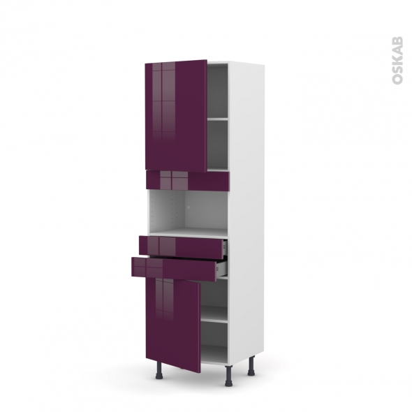 Colonne de cuisine N°2156 - MO encastrable niche 36/38 - KERIA Aubergine - 2 portes 2 tiroirs - L60 x H195 x P58 cm