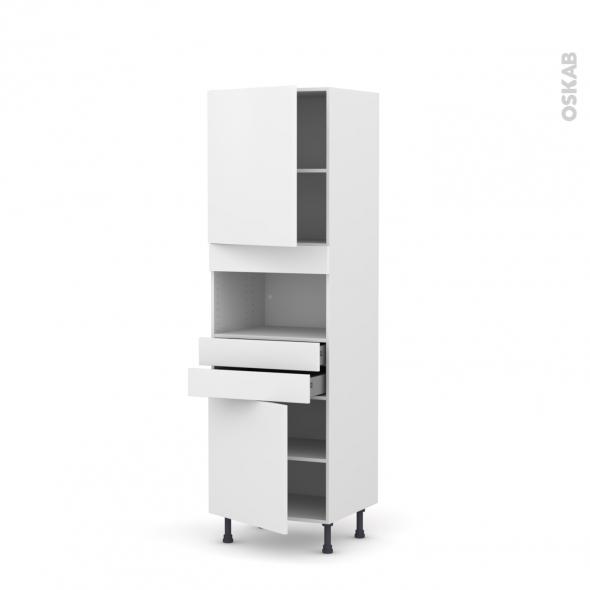 Colonne de cuisine N°2156 - MO encastrable niche 36/38 - GINKO Blanc - 2 portes 2 tiroirs - L60 x H195 x P58 cm