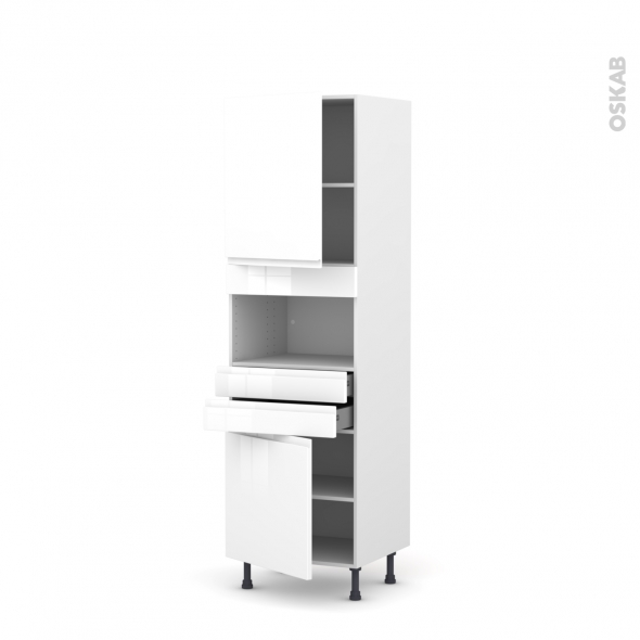 Colonne de cuisine N°2156 - MO encastrable niche 36/38 - IPOMA Blanc - 2 portes 2 tiroirs - L60 x H195 x P58 cm