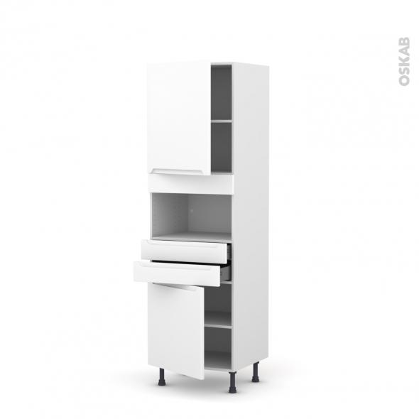 Colonne de cuisine N°2156 - MO encastrable niche 36/38 - PIMA Blanc - 2 portes 2 tiroirs - L60 x H195 x P58 cm