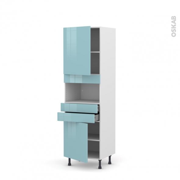 Colonne de cuisine N°2156 - MO encastrable niche 36/38 - KERIA Bleu - 2 portes 2 tiroirs - L60 x H195 x P58 cm