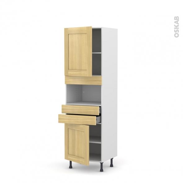 BASILIT Bois Brut - Colonne MO niche 36/38 N°2156  - 2 portes 2 tiroirs - L60xH195xP58