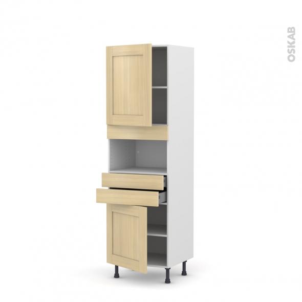 BASILIT Bois Vernis - Colonne MO niche 36/38 N°2156  - 2 portes 2 tiroirs - L60xH195xP58