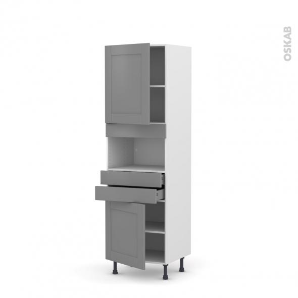 Colonne de cuisine N°2156 - MO encastrable niche 36/38 - FILIPEN Gris - 2 portes 2 tiroirs - L60 x H195 x P58 cm