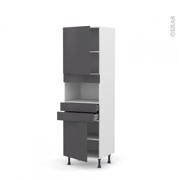 Colonne de cuisine N°2156 - MO encastrable niche 36/38 - GINKO Gris - 2 portes 2 tiroirs - L60 x H195 x P58 cm