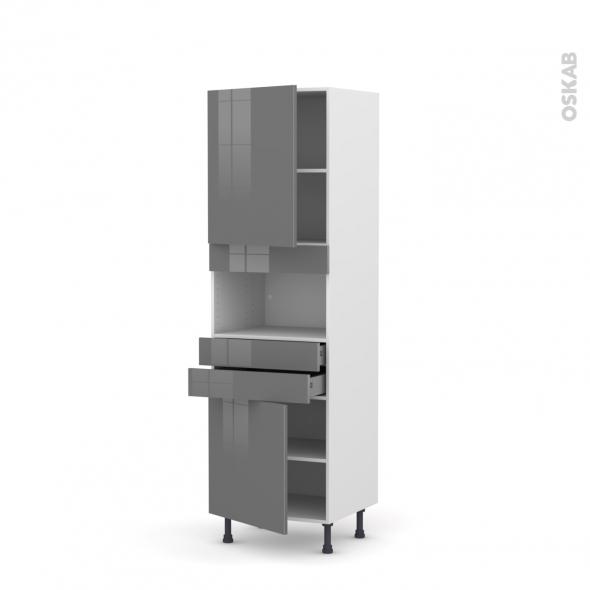 Colonne de cuisine N°2156 - MO encastrable niche 36/38 - STECIA Gris - 2 portes 2 tiroirs - L60 x H195 x P58 cm